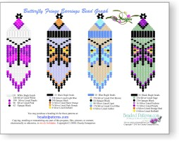 Butterflies Fringe Earrings Bead Graph