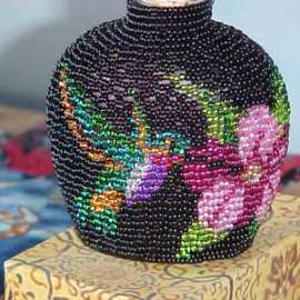 Beaded Hummingbird Purfume Bottle