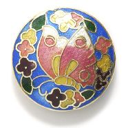 Butterfly Side cloisonné bead 32mm coin