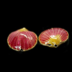 SeaShell Rose cloisonné bead 17x20mm