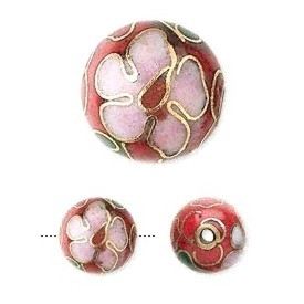 Red cloisonné bead 10mm round
