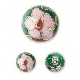 Green cloisonné bead 10mm round