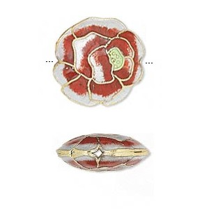 Little Red and White Rose cloisonné bead 19x6mm
