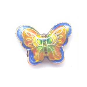 Butterfly Blue Edge cloisonné bead 17x23mm