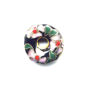 Pink Flower on Black cloisonné bead 16mm