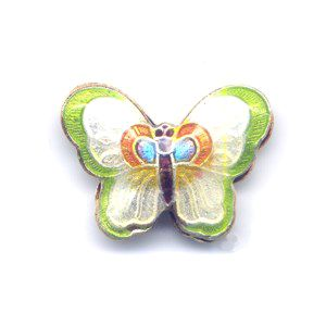 Butterfly Lime Edge cloisonné bead 17x23mm