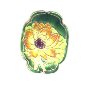 Flower Shield Green cloisonné bead 25mm by 30mm