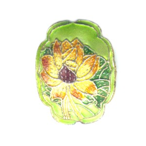 Flower Shield Lime cloisonné bead 25mm by 30mm
