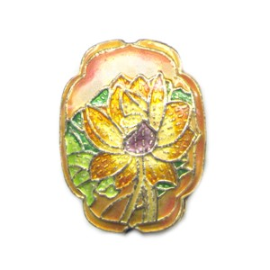 Flower Shield Peach cloisonné bead 25mm by 30mm