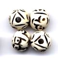 10 Bone Carved Face Beads