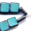 5 Square Turquoise with Silver 8mm Beads