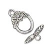 Silver Colored Flower Leaf Toggle Clasp