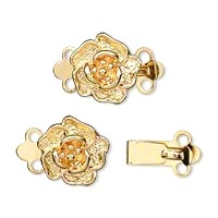 Gold Colored Rose 2 strand box clasp set.