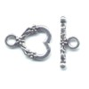 Silver Colored Heart Toggle Clasp