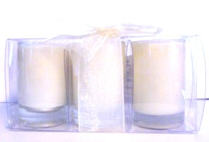 3 Little Glass Candle Holder w/Candle
