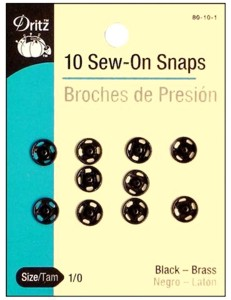 10 Black Large Sew On Snaps