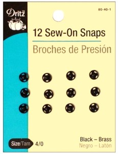 12 Black Small Sew On Snaps