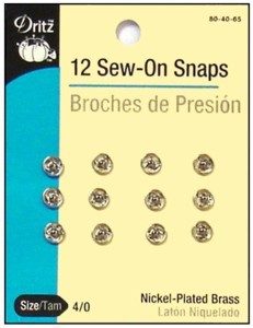 12 Nickel Plated Small Sew On Snaps