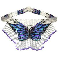 Butterfly Bugle Weave Fringe Necklace