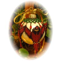 Beaded Cardinal Christmas Ornament Cover by Dragon