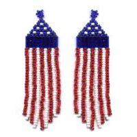 American Flag Fringe Earring Pattern and Kit