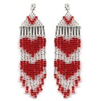 Red Hearts Fringe Earring Pattern and Kit