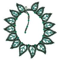 15 Teal Leaf Russian Necklace