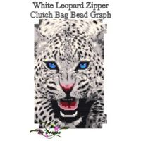 White Leopard Zipper Clutch Bag