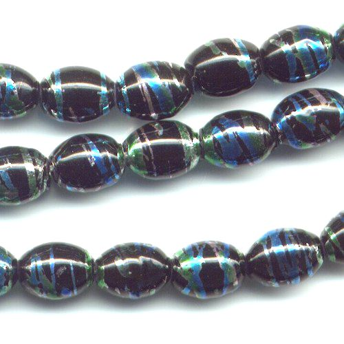 1 Strand Teal Swirl 5x7mm Oval Dangle Beads!