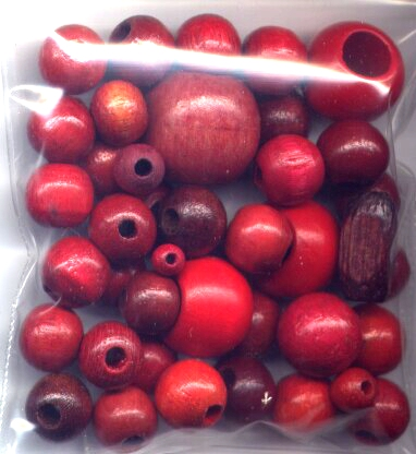Assortment of Red Wooden Beads