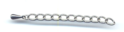 Chain Necklace Extention, Silver Color, 2 and 1/2 inches long