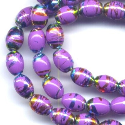 1 Strand Fuchsia Swirl 5x7mm Oval Dangle Beads!