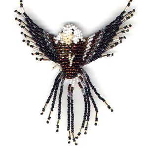3d beaded Eagle necklace front view