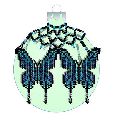 Blue Butterfly Christmas Ornement