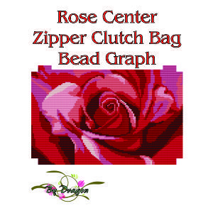 Rose Center Clutch Bag Bead Graph, Instructions and Kit