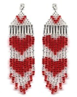 Red Hearts Fringe Earring