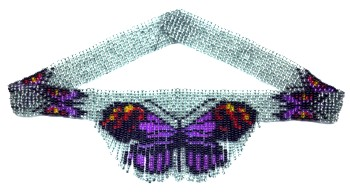 Purple Tiger Butterfly Weave Fringe Necklace