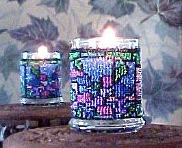 Beaded Stained Glass Candle Holder!