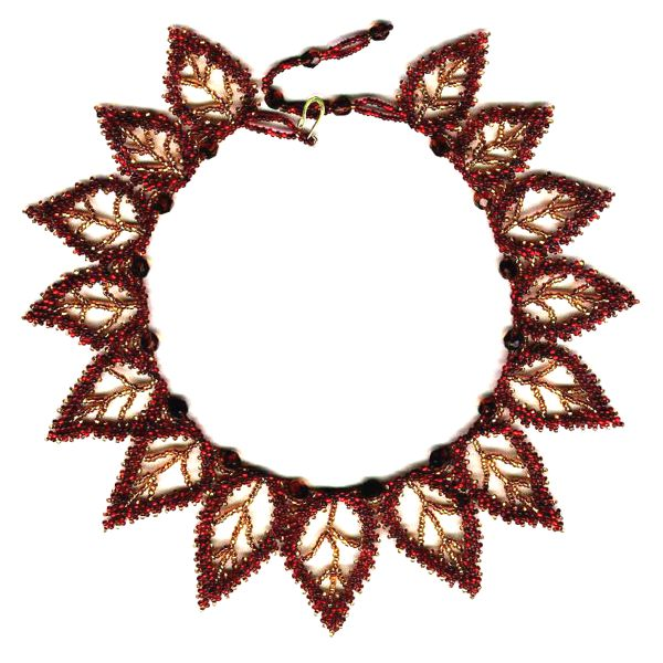 15 Red Leaf Russian Necklace Pattern and Kit