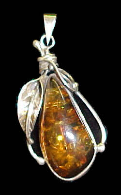 Amber Pendant #5 set in Sterling Silver