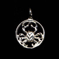 Cancer Crab Pendant Sterling Silver