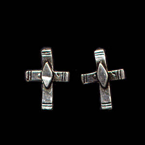 Diamond Cross Sterling Silver Post Earrings