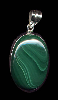 Malachite Pendant set in Sterling Silver