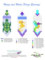 Wings & Water Fringe Earrings Bead Graph