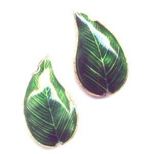 2 Dark Green Leaf cloisonné beads 30mm x 15mm