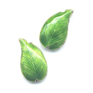 2 Green Leaf cloisonné beads 30mm x 15mm