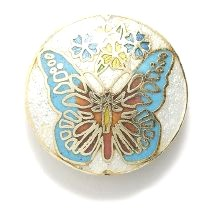 Light Blue Butterfly cloisonné bead 30mm
