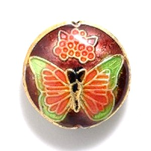 Brown Butterfly cloisonné bead 19mm coin