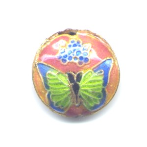 Butterfly Blue Peach cloisonné bead 20mm coin