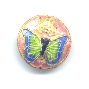 Butterfly Blue Pink cloisonné bead 20mm coin